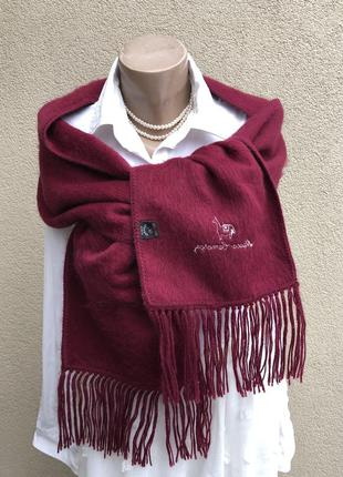 Эксклюзив,шарф альпака100%,тёплый палантин,марсала,бордо,