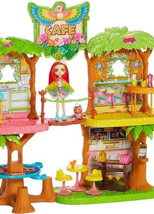 Набор Домик Enchantimals Тропическое кафе с куклой Попугай Какаду