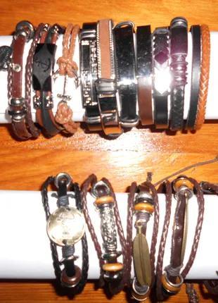 Сувенир… Браслет кожаный на подарок кожа нержавеющая сталь