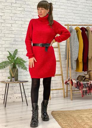 Вязаное шерстяное платье теплое красное свободное оверсайз с г...
