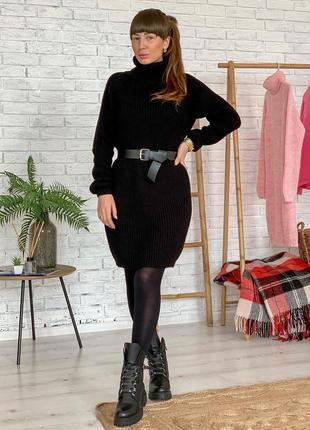 Вязаное шерстяное платье теплое черное свободное оверсайз с го...