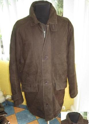 Утеплённая  классическая  кожаная мужская куртка milestone. ло...