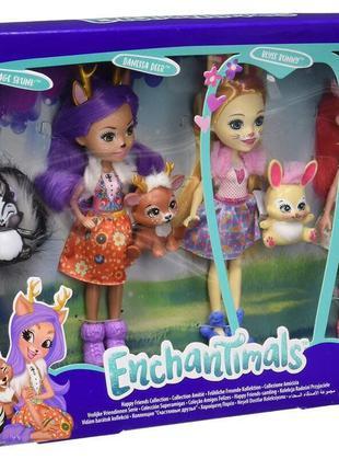 Набор из 4 кукол Enchantimals Счастливые подружки с их питомцами