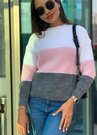 Объемный теплый свитер оверсайз крупной вязки свободный шерстя...
