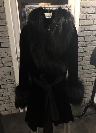 Шуба gf ferre оригинал италия  чёрная стриженная норка лиса s-m