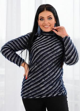 Тёплый свитер гольф ангора большие размеры
