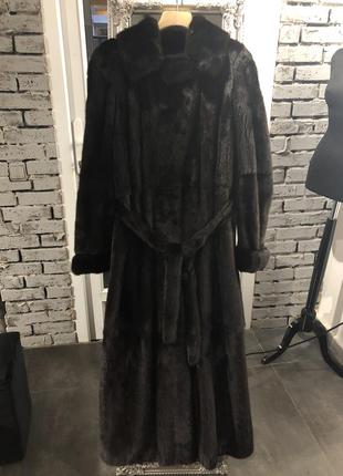 Шуба up star норка длинная коричневая в пол оригинал женская