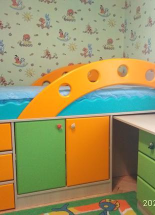 Детская кровать чердак горка двухъярусная Снайт Snite