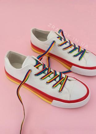 Кеды конверсы белые цветные шнурки радужные высокие толстая по...