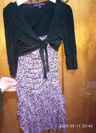 Красивое трикотажное платье-сарафан с болеро  девочке 7-9 лет