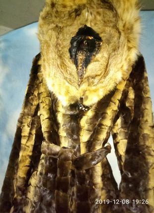 Шикарная натуральная шубка италия, размер 44-46р норка и рысь