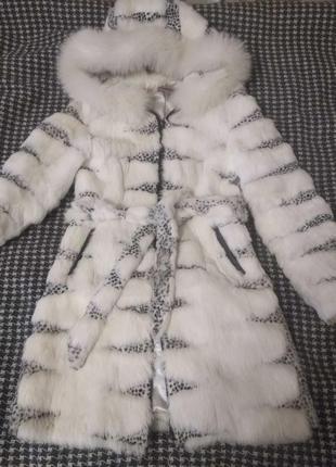 Шикарная натуральная шубка с капюшоном ангоровый кролик 46-48р