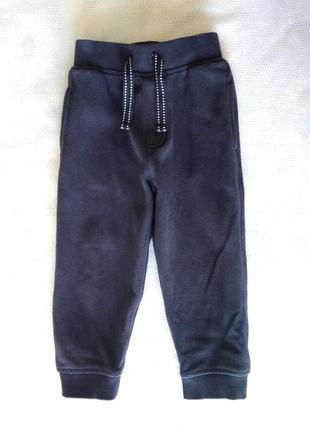 Крутые теплые темно синие спортивные штаны брюки с начесом на ...