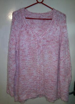 Мягчайший,нежный,меланж,букле,свитер-травка (фото2),большого р...
