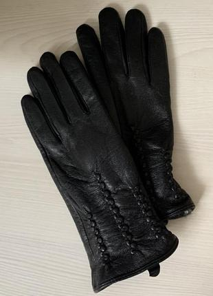 Новые кожаные перчатки натуральная мягкая кожа мех внутри