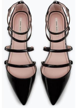 Zara basic лакированные сандали туфли босоножки 23.5-24 см