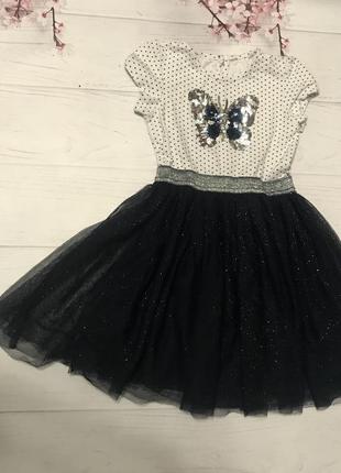 Платье в горошек паетки фатин сетка юбка