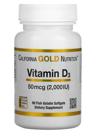 California Gold Nutrition, витамин D3, 50 мкг (2000 МЕ), 90 шт