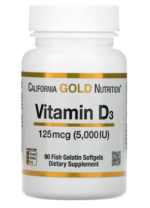 California Gold Nutrition, витамин D3, 125 мкг 5000 Ме , 90 кап.