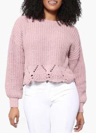 Свитер шинель/матовый велюр цвета розовая пастель