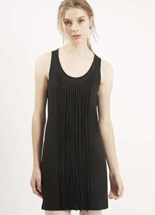 Платье с бахромой и открытой спинкой от topshop