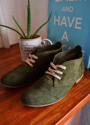Туфли полуботинки велюр на шнуровке