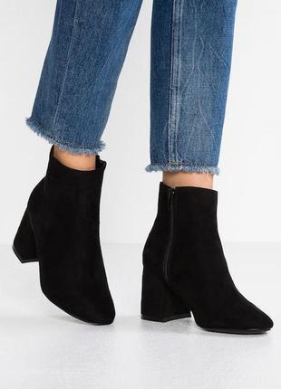 Ботинки на каблуке имитация замши