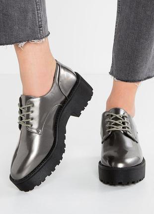 Туфли броги металлик на платформе