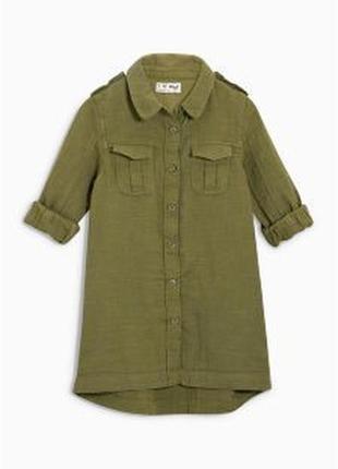 Рубашка коттон цвета хаки