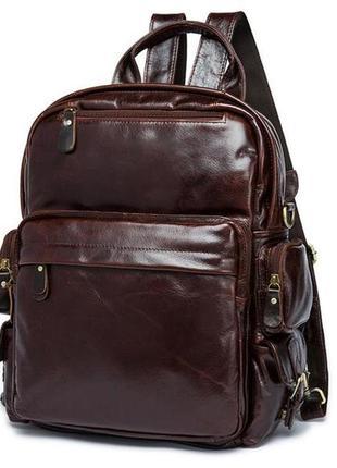 Компактный рюкзак сумка трансформер кожаный коричневый мужской...