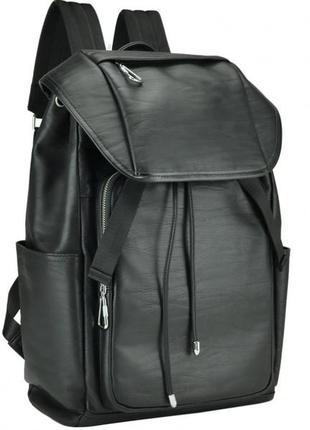 Кожаный рюкзак мужской на шнурке стяжке клапане стильный casual