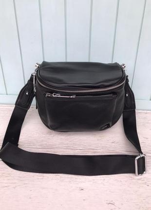 Женская кожаная сумка через плечо черная жіноча шкіряна сумка ...