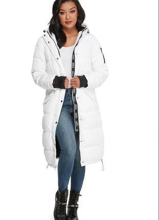 Легкий и теплый длинный пуховик guess, пальто guess, оригинал