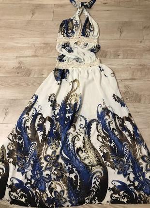 Шикарное платье в пол, сарафан с красивой расцветкой размер с-м