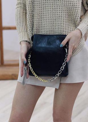 Женская кожаная двусторонняя сумка клатч polina & eiterou чёрн...