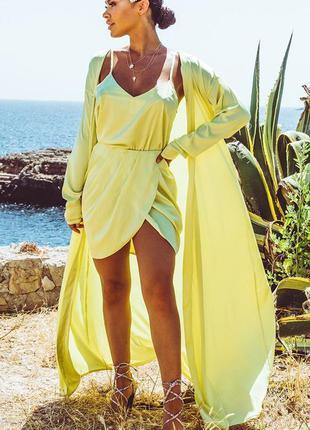Ликвидация товара 🔥 жёлтая сатиновая мини юбка на запах