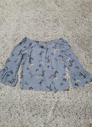 Блузка полосатая, бабочки, синие полоски, вертикальные полоски