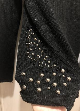 Вязаный черный свитер от zara оригинал размер м