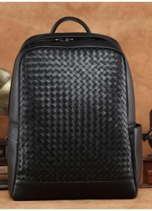 Рюкзак кожаный мужской для ноутбука вместительный стильный cas...