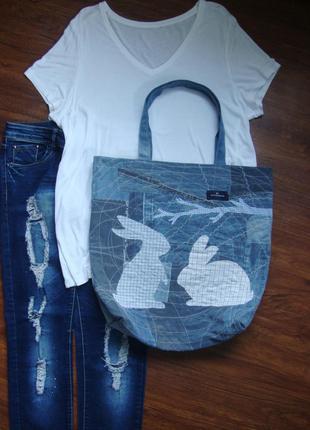 Джинсовая сумка пляжная шоппер очень вместительная
