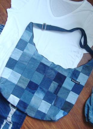 Джинсовая сумка торба вместительная через плечо