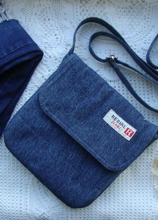 Джинсовая сумка через плечо текстильная натуральная сумочка