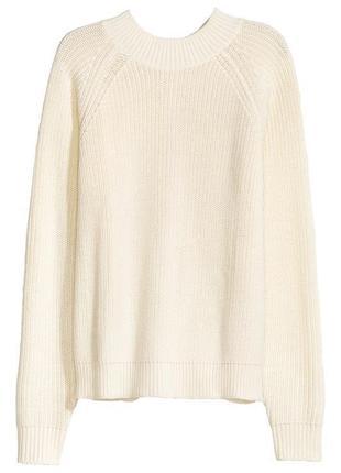 Тёплый вязаный свитер джемпер реглан с молнией сзади на спине h&m