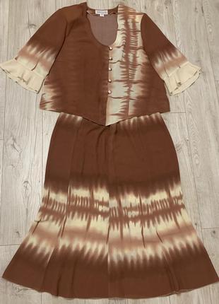 Шелковый летний костюм блуза и юбка размер  2 хл - 3 хл