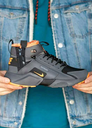 Nike Air Huarache Acronym (черн/орнажевые) ЗИМА
