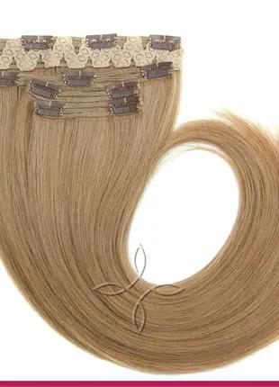 Волосы на Заколках Славянские 50 см 115 грамм, Русый №08
