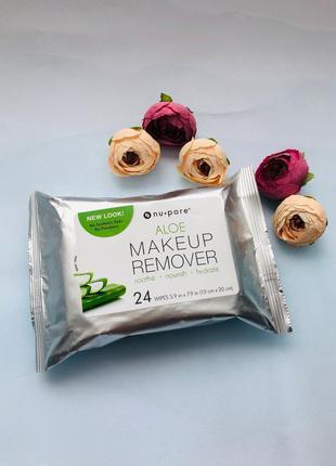 Nu-pore, средство для снятия макияжа с алоэ, 24 влажных салфетки