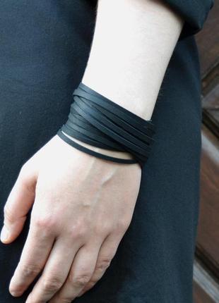 Широкий кожаный  браслет лапша из плотной итальянской кожи(все...
