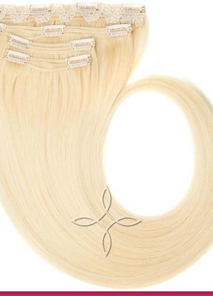 Волосы на Заколках Славянские 50 см 115 грамм, Блонд №613