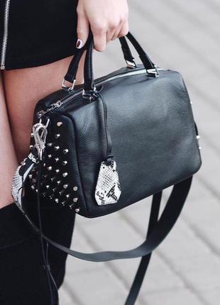 Женская кожаная сумка через на плечо черная polina & eiterou ж...